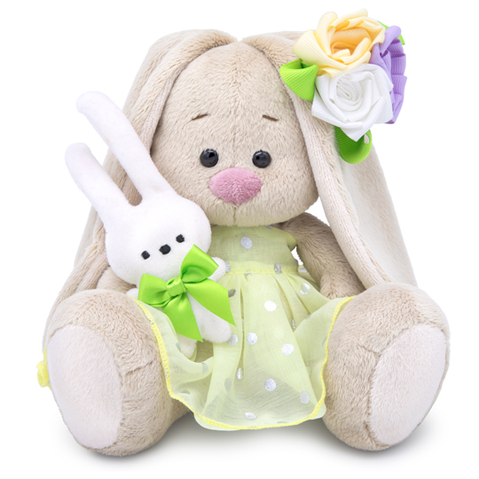 with a bunny and with an elegant flower
